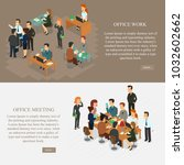two horizontal workplace... | Shutterstock .eps vector #1032602662
