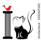 illustrations of black cat... | Shutterstock .eps vector #1032605182