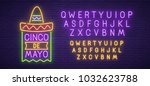 cinco de mayo neon sign  bright ... | Shutterstock .eps vector #1032623788