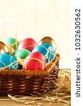 happy easter. basket with... | Shutterstock . vector #1032630562