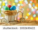 easter card  colored eggs in... | Shutterstock . vector #1032630622