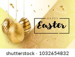 happy easter background with... | Shutterstock .eps vector #1032654832