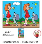 little girl playing with a dog. ... | Shutterstock .eps vector #1032659245