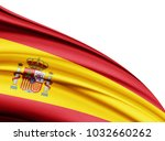 spain  flag of silk with... | Shutterstock . vector #1032660262