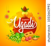 illustration of ugadi with... | Shutterstock .eps vector #1032662992