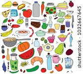 a set of doodles on the theme... | Shutterstock .eps vector #1032667645