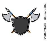 metallic warrior shield with...   Shutterstock .eps vector #1032670582