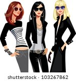 Three Fashion Of Girls In...