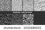 collection of abstract lines... | Shutterstock .eps vector #1032680032