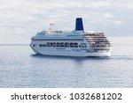 Small photo of FUNCHAL, MADEIRA - FEBRUARY 5, 2018: P&O Cruises cruise ship Oriana leaving Funchal harbor, Madeira