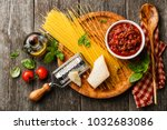 ingredients for spaghetti... | Shutterstock . vector #1032683086