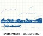 blue pen sketch on square grid... | Shutterstock .eps vector #1032697282