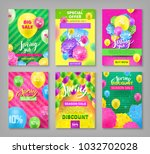 set discount coupons  spring... | Shutterstock .eps vector #1032702028