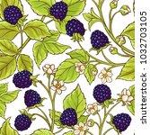 blackberry vector pattern | Shutterstock .eps vector #1032703105