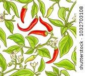 cayenne pepper vector pattern | Shutterstock .eps vector #1032703108