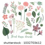 vector floral design elements.... | Shutterstock .eps vector #1032703612