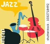 jazz music festival poster with ... | Shutterstock .eps vector #1032718492
