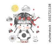 cute girl.cartoon hand drawn... | Shutterstock .eps vector #1032721138