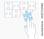 hand putting puzzle pieces.... | Shutterstock .eps vector #1032722068