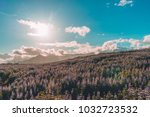 lupin blooming with mountains... | Shutterstock . vector #1032723532