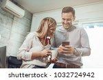 young smiling entrepreneurs... | Shutterstock . vector #1032724942