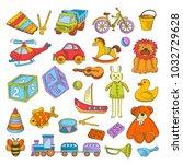 kid toys or children playthings ... | Shutterstock .eps vector #1032729628