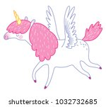 little flying unicorn. cute... | Shutterstock .eps vector #1032732685