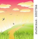 beautiful morning / nature / vector illustration - stock vector