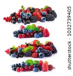 set of fresh fruits and berries ... | Shutterstock . vector #1032739405