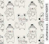 forest animal seamless pattern... | Shutterstock .eps vector #1032740095