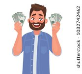 joyful man with banknotes of... | Shutterstock .eps vector #1032742462