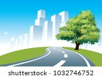 big tree at the road  cityscape ... | Shutterstock .eps vector #1032746752