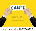 two hands tearing paper note... | Shutterstock .eps vector #1032746758