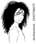 young afro woman with black... | Shutterstock .eps vector #1032748675
