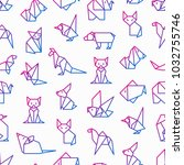 origami seamless pattern with... | Shutterstock .eps vector #1032755746