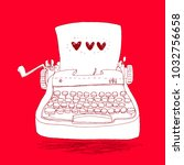 retro typewriter  vector... | Shutterstock .eps vector #1032756658