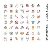 collection of objects and... | Shutterstock .eps vector #1032756682
