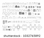 top view of set furniture... | Shutterstock .eps vector #1032765892