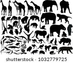 Stock vector illustration with animals collection isolated on white background 1032779725