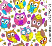 seamless pattern with funny... | Shutterstock .eps vector #1032792406