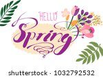 design banner with hello spring ... | Shutterstock .eps vector #1032792532