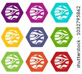 striped planet icon set many... | Shutterstock .eps vector #1032795862