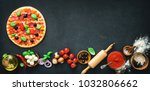 delicious pizza with... | Shutterstock . vector #1032806662