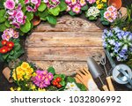 frame of spring flower and... | Shutterstock . vector #1032806992