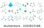 molecule icon set. cartoon set... | Shutterstock .eps vector #1032815188