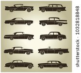 10 vector icons of vintage cars ... | Shutterstock .eps vector #1032818848
