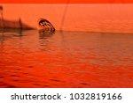 closeup of orange cargo ship... | Shutterstock . vector #1032819166
