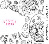 happy easter vector... | Shutterstock .eps vector #1032821158