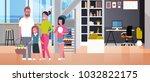 big family on happy easter...   Shutterstock .eps vector #1032822175