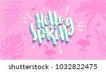 hello spring banner. trendy... | Shutterstock .eps vector #1032822475